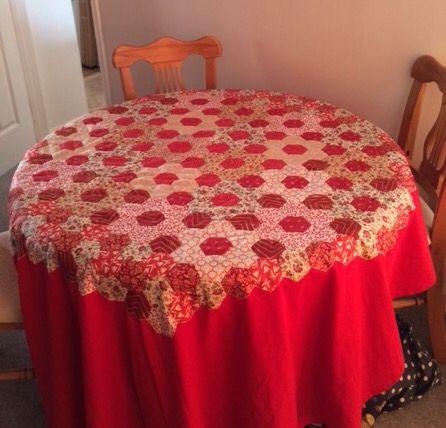 Hexagon hand-pieced tablecloth