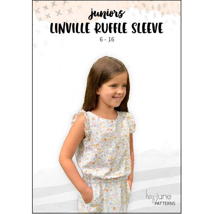 be3a3d4286df FREE Ruffle Sleeve add-on pattern for the Linville Romper and Dress from Hey  June Handmade