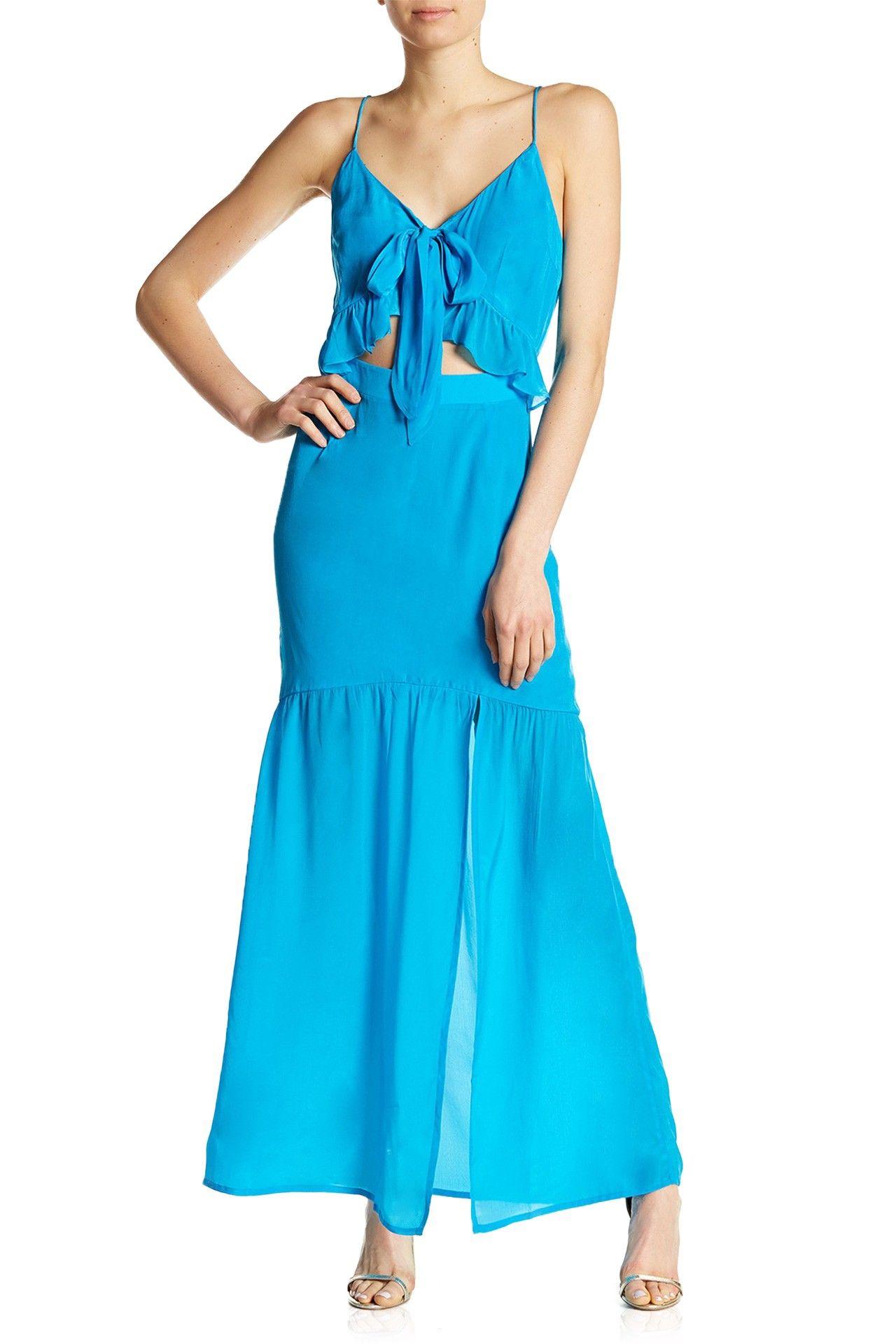 Light blue silk bandeau dress shahida parides maxi