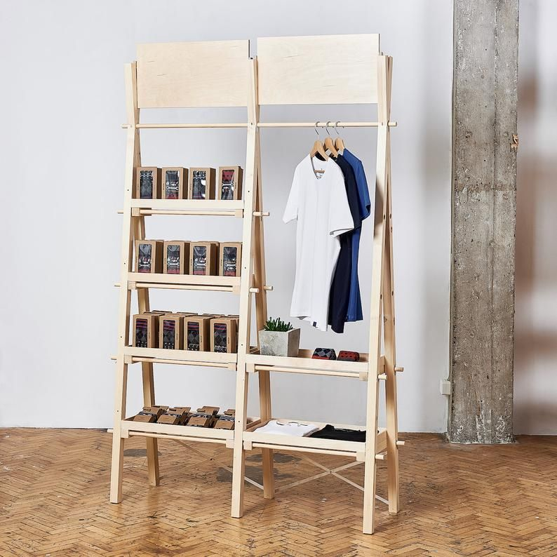 Portable Double Unit Vsr 01 Shelving Unit And Clothes Rail Pop Up Store Shelving Unit Shelving Pop Up Store