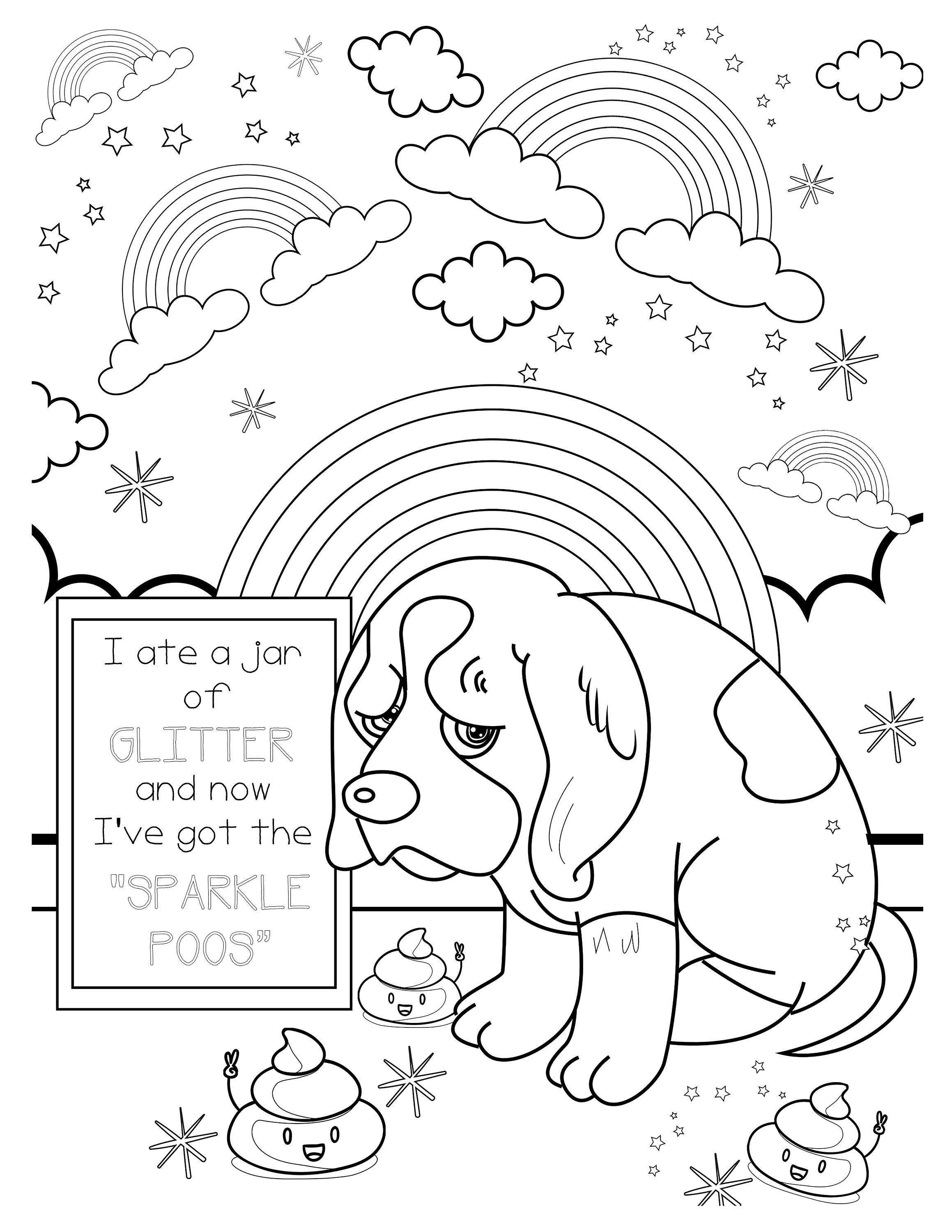 Precious Puppy Glitter Sparkle Coloring Page Printable Coloring