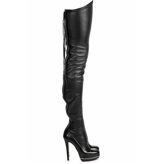 c1f02702ba4 Christian Louboutin zip-back, thigh-high, skin-tight, black leather ...
