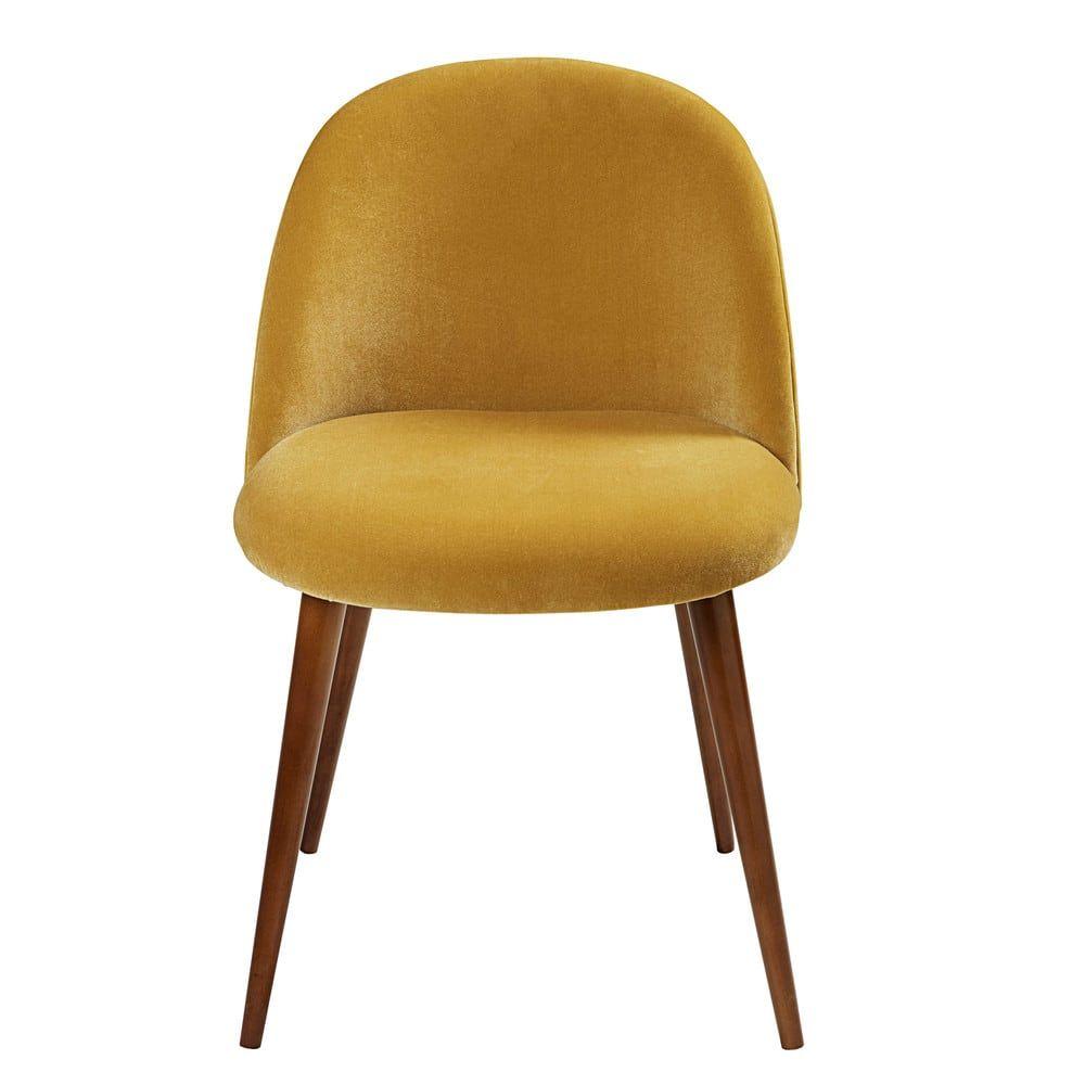 Chaise Vintage En Velours Jaune Moutarde Et Bouleau Maisons Du Monde Chaise Vintage Chaises Jaunes Chaises D Epoque