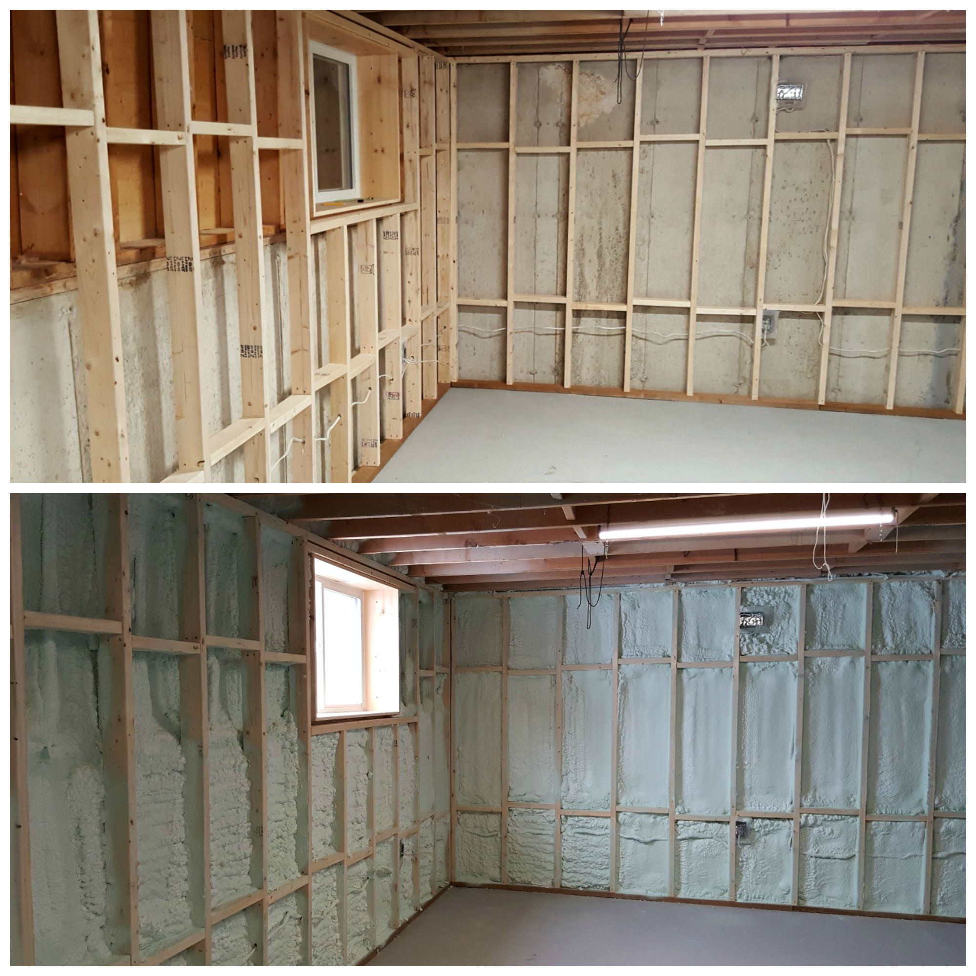 Basement Framing And Spray Foam Insulation Basement Walls Basement Insulation Spray Foam Insulation
