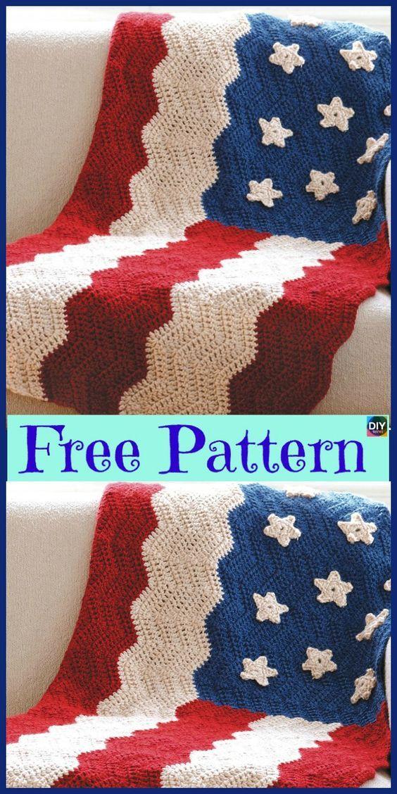 6 Unique Crochet American Afghan Free Patterns   Crochet & Knitting ...