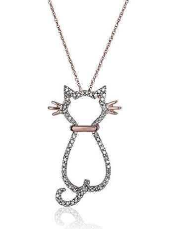 14k rose gold and diamond cat pendant necklace jewelry rose gold and diamond cat pendant necklace crazy cat lady supplies mozeypictures Choice Image
