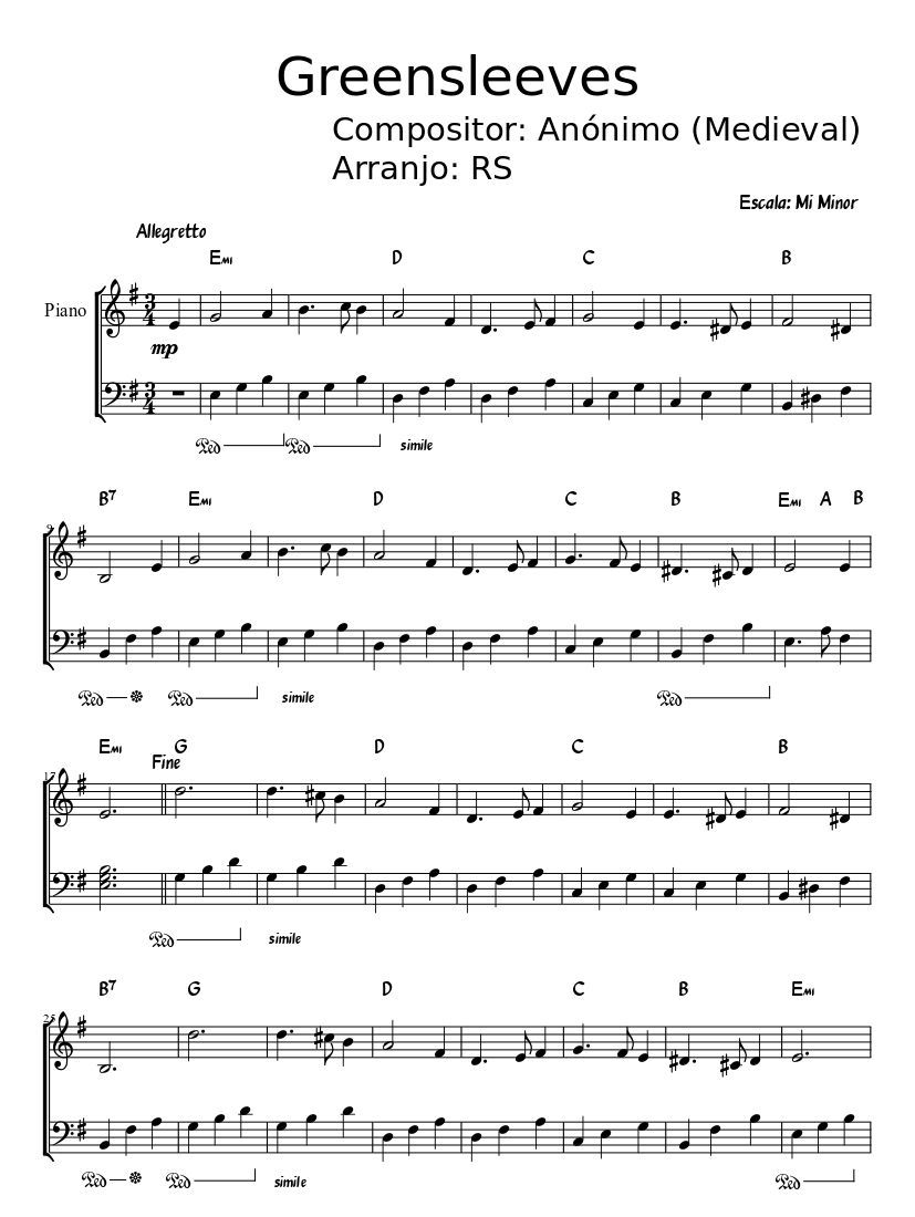 Print And Download In Pdf Or Midi Greensleeves Sheet Music For