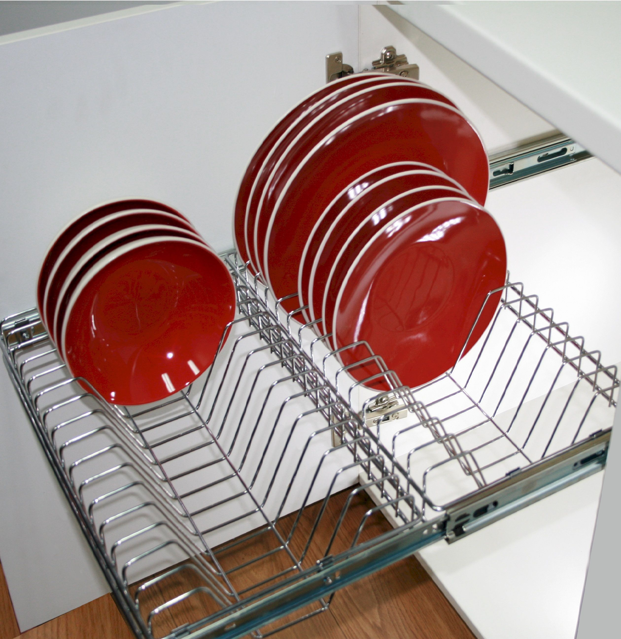 Stainless Steel Wire Pull Out Plate Rack Kitchen Furniture Storage Plate Storage Plate Racks
