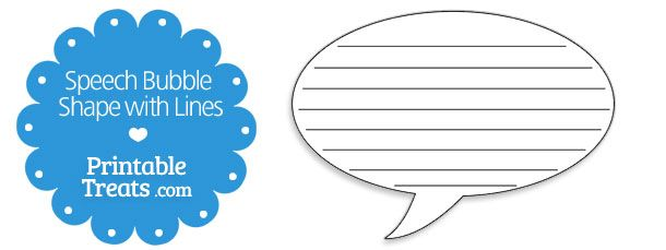 Printable Speech Bubble Shape With Lines Printable Treats Com