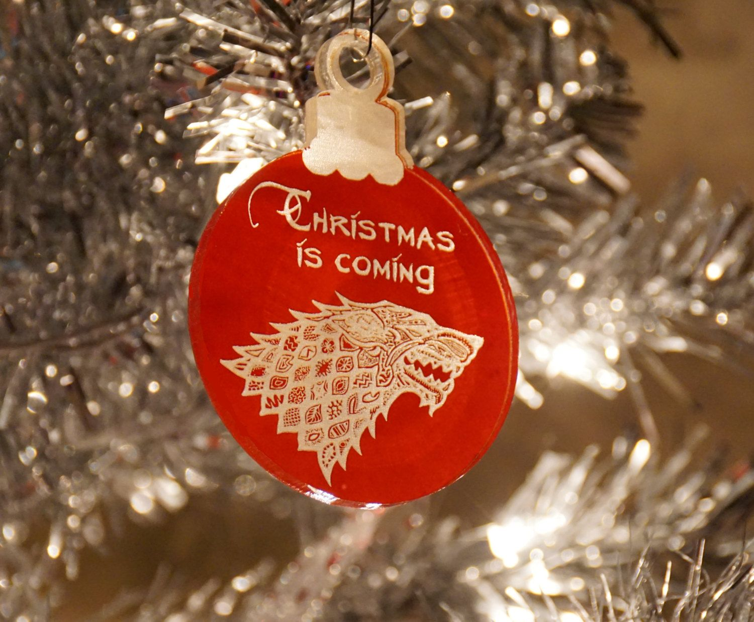 Custom Designed Acrylic Ornament Game Of Thrones Christmas Winter Is Coming Acrylic Holiday Ornaments Diy Game Of Thrones Christmas Diy Christmas Ornaments