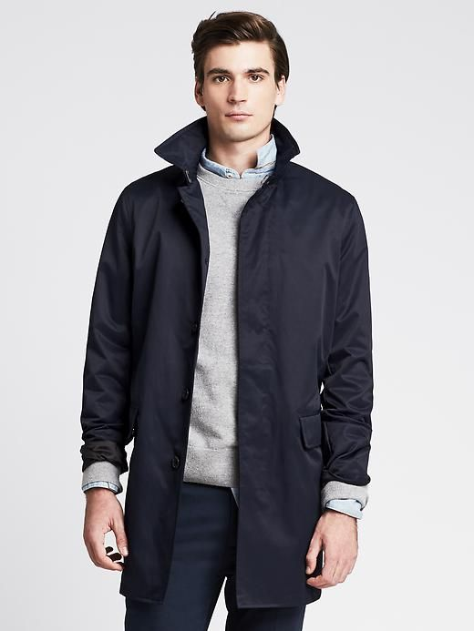 Navy Mac Jacket | Mens mac coat, Mens outfits, Stylish jackets