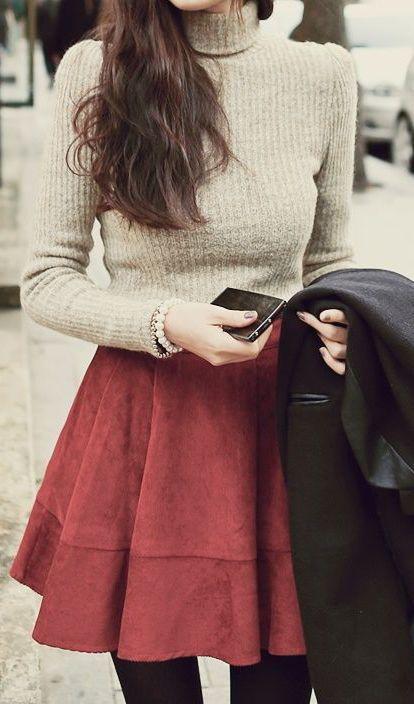 Winter Fashion Turtleneck Knit Skirt