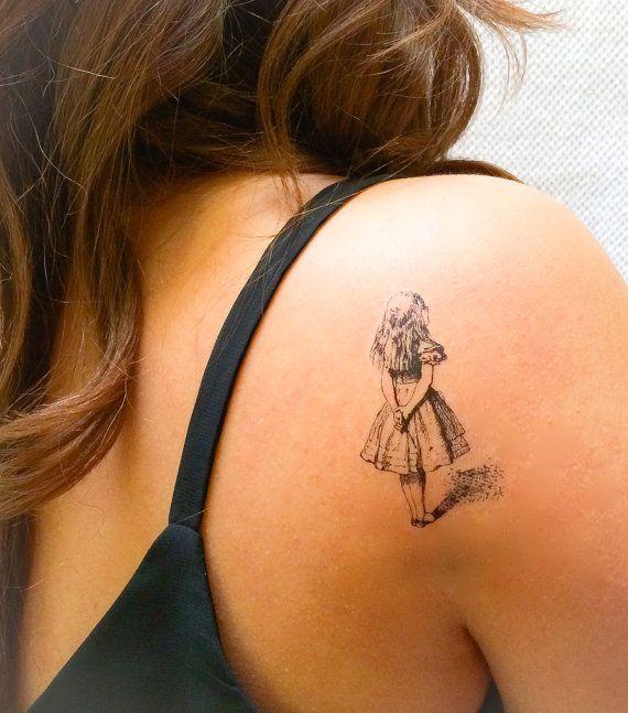 2 alice au pays des merveilles temporaires tatouages geektat tattoos pinterest pays des - Tatouage alice au pays des merveilles ...