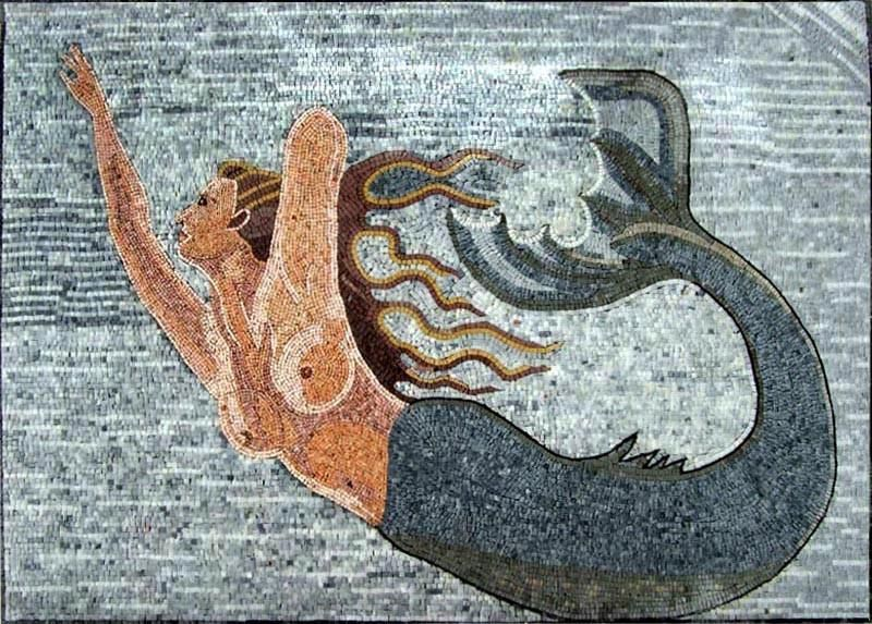 This is a stunning stone mosaic work of a beautiful mermaid swimming freely  in a wide blue ocean. The mermaid is illust… | Mermaid mosaic, Mosaic art,  Mosaic murals