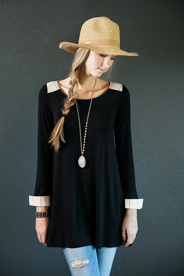 Camille Plaid Detail Tunic! 4 Colors! | Grab this deal on Jane! #FallFashion #Womens #clothing