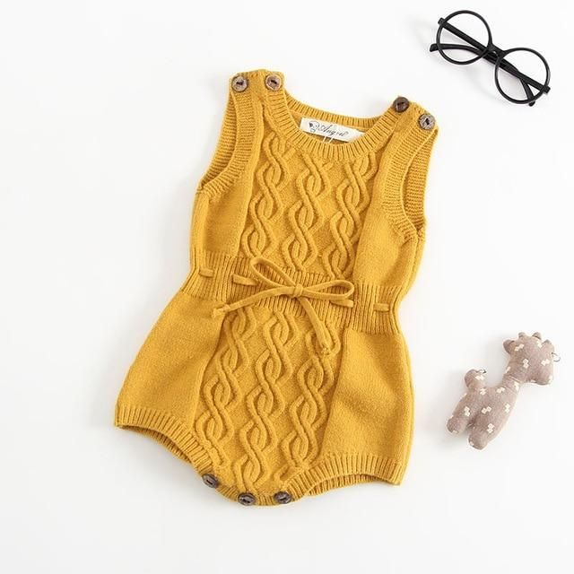 Photo of Autumn Newborn Baby Girls Boys Romper Knitted Wool Yellow Grey Color Twisted Overall Jumpsuit For Baby Clothes Vest Romper