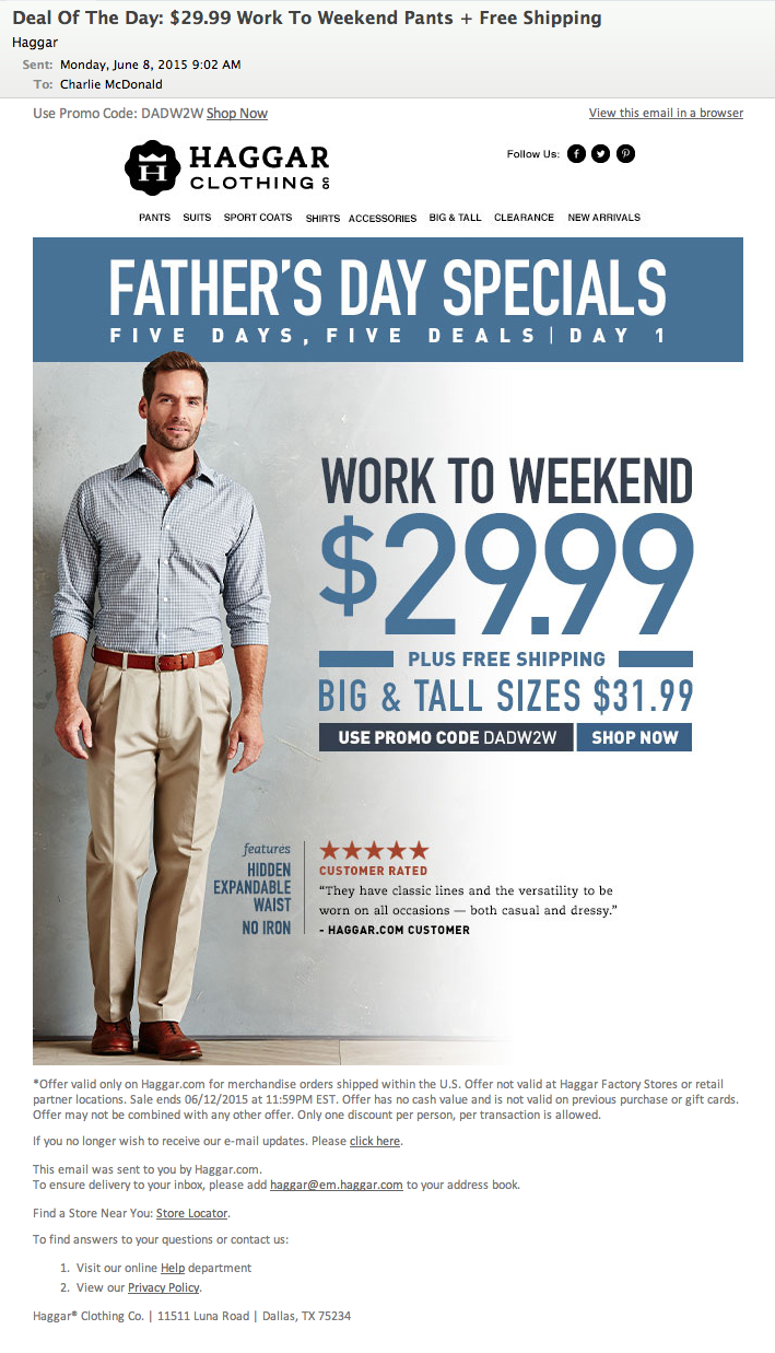 Father's Day Specials. Five Days, Five Deals. Day 1 Email