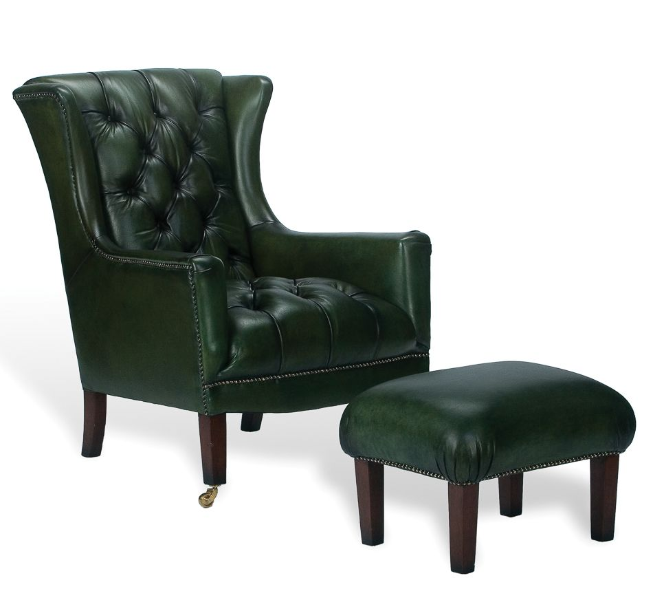 Dark Green Leather Chairs