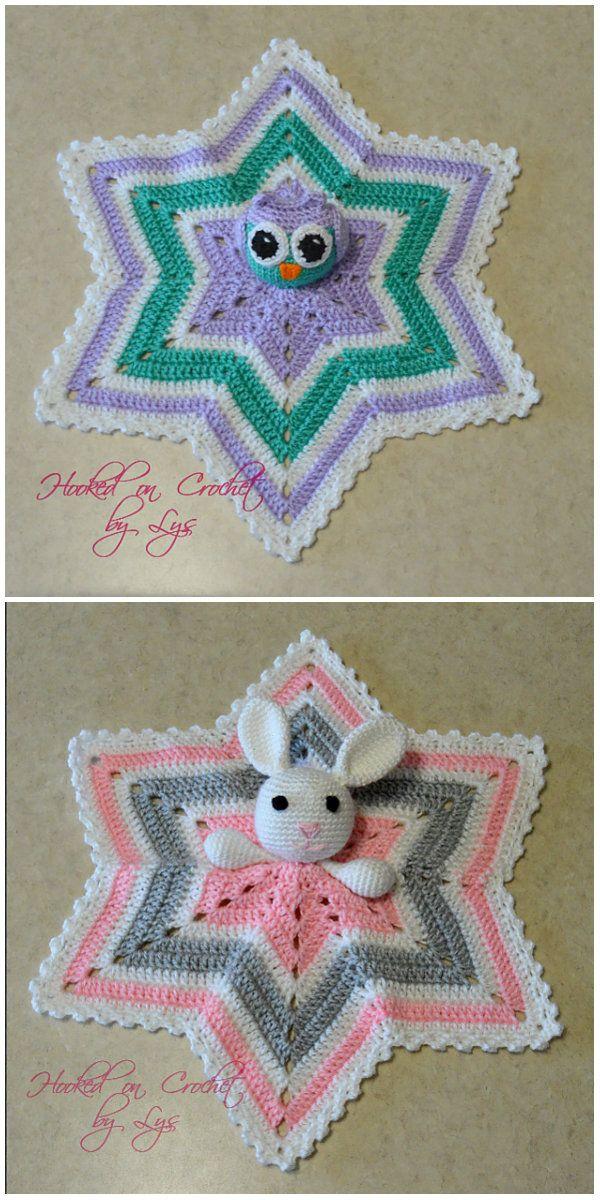 6 Point Star Baby Lovey Blanket Crochet   Toys   Pinterest   Bebe ...