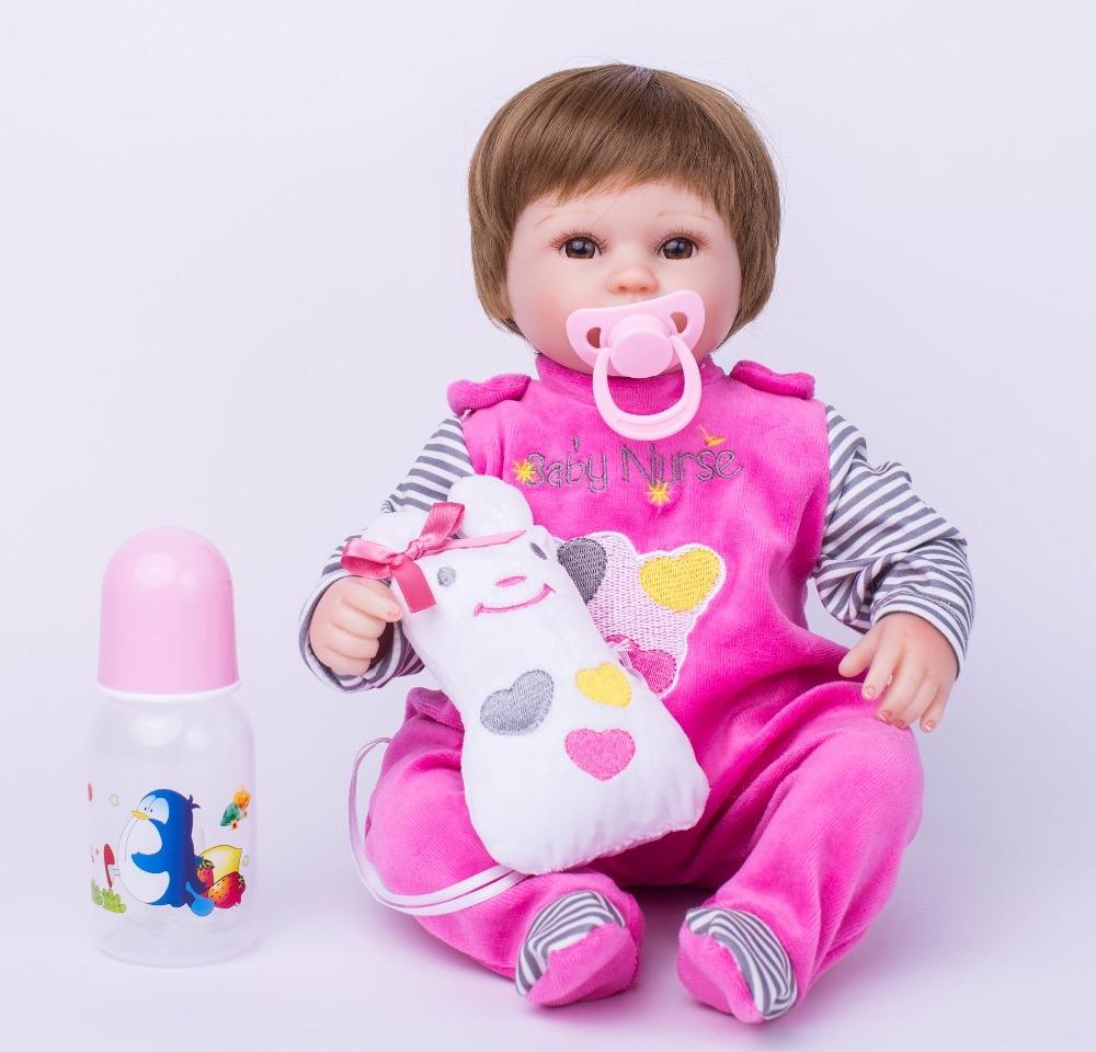 56.16$  Watch here - http://alix8t.worldwells.pw/go.php?t=32745454596 - 40cm Soft Body Silicone Reborn Baby Doll Toy For Girls Vinyl Newborn Girl Babies Dolls Kids Child Gift Girl Brinquedos 56.16$