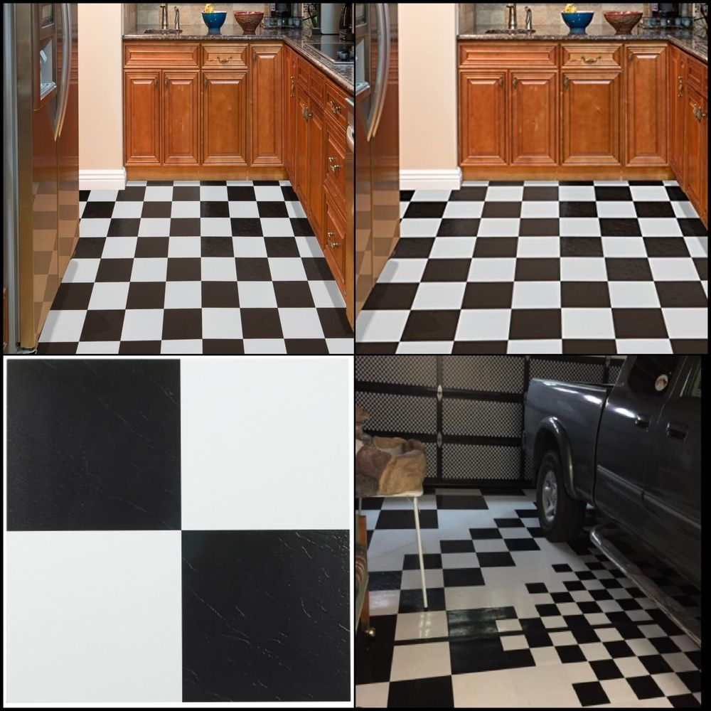 20 Vinyl Floor Tiles Peel Stick Mat Self Adhesive Flooring Tile Black And White Achimhomefurnishings White Houses Vinyl Tile Floor Decor