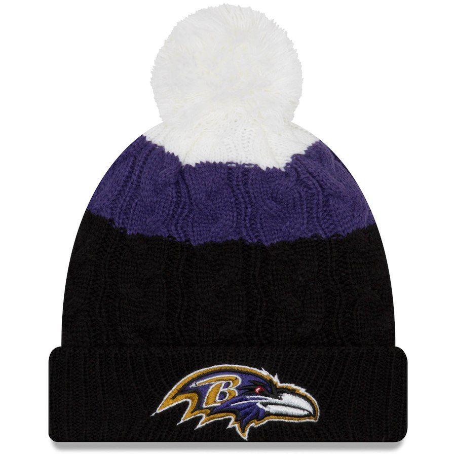 01a0ffeb430 Women s Baltimore Ravens New Era White Black Layered Up 2 Cuffed Knit Hat  with Pom
