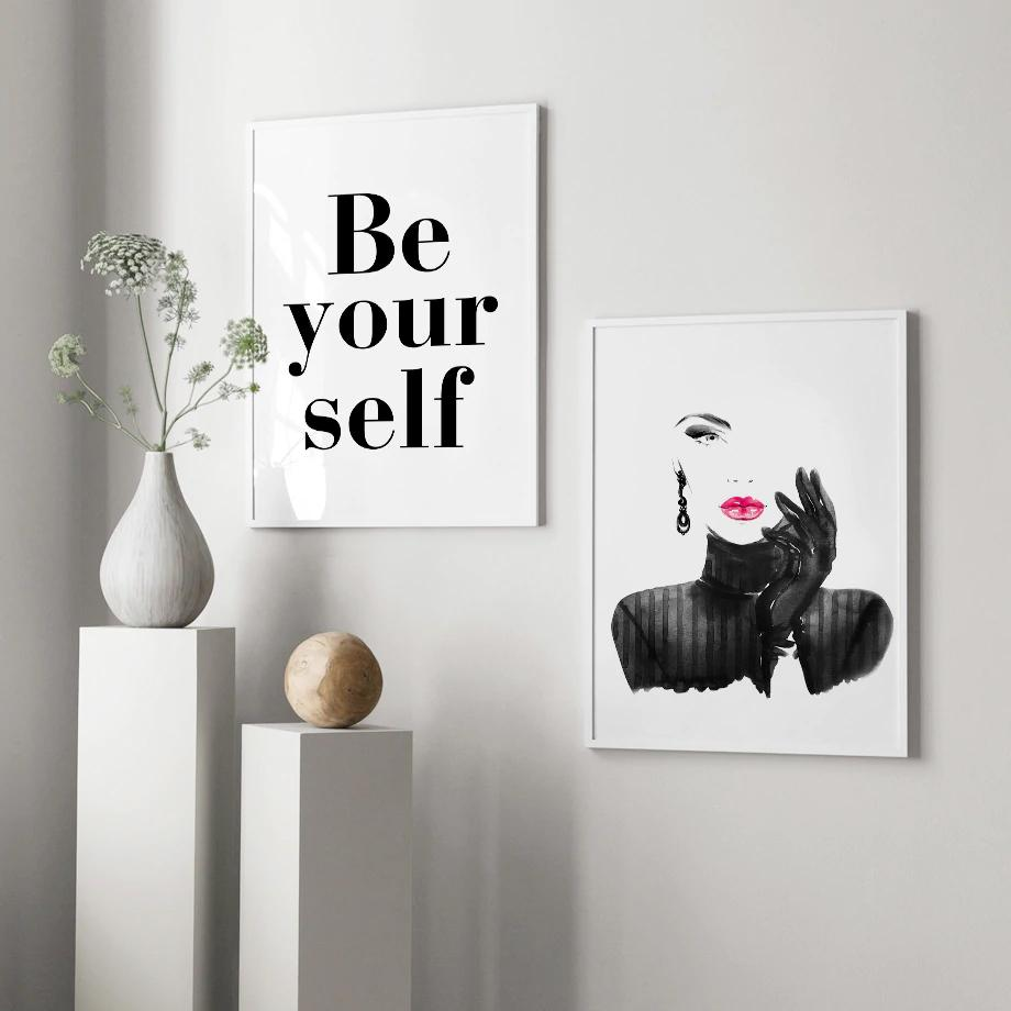 Be Yourself Modern Black White Red Lipstick Glamour Fashion Wall Art Wall Art Quotes Fashion Wall Art Canvas Wall Art