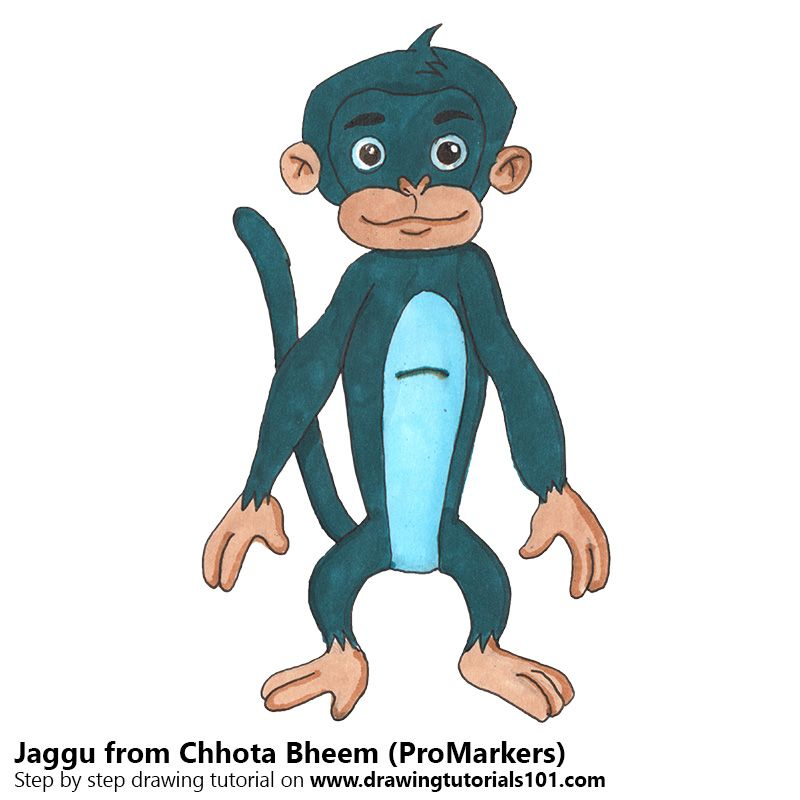 Jaggu from Chhota Bheem with ProMarkers Drawing Tutorials Pinterest - best of chhota bheem coloring pages games