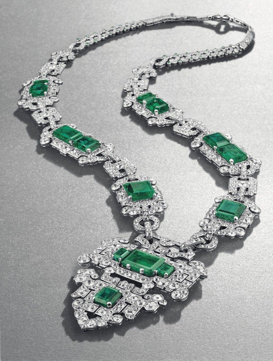 An elegant art deco emerald and diamond sautoir of oriental