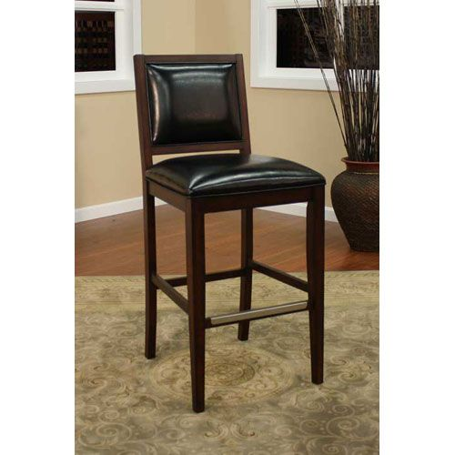 Bryant Espresso Tall Bar Stool With Toast Leather Cushion Bar Height