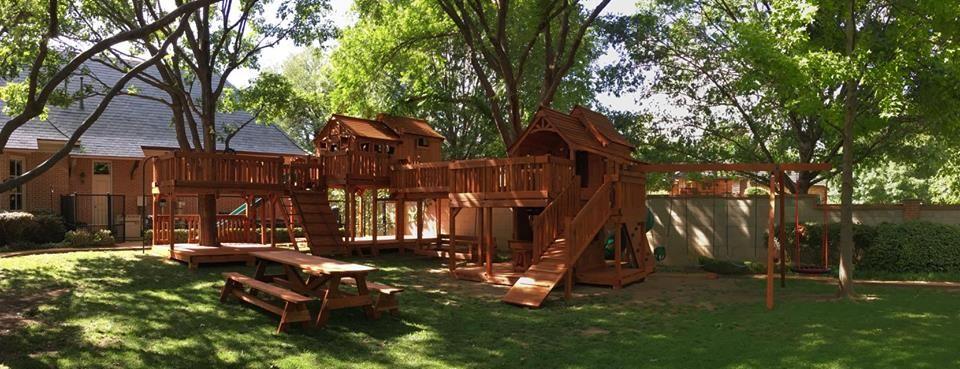 Bridged Wooden Swing Sets Playset Outdoor Backyard Fun Wooden