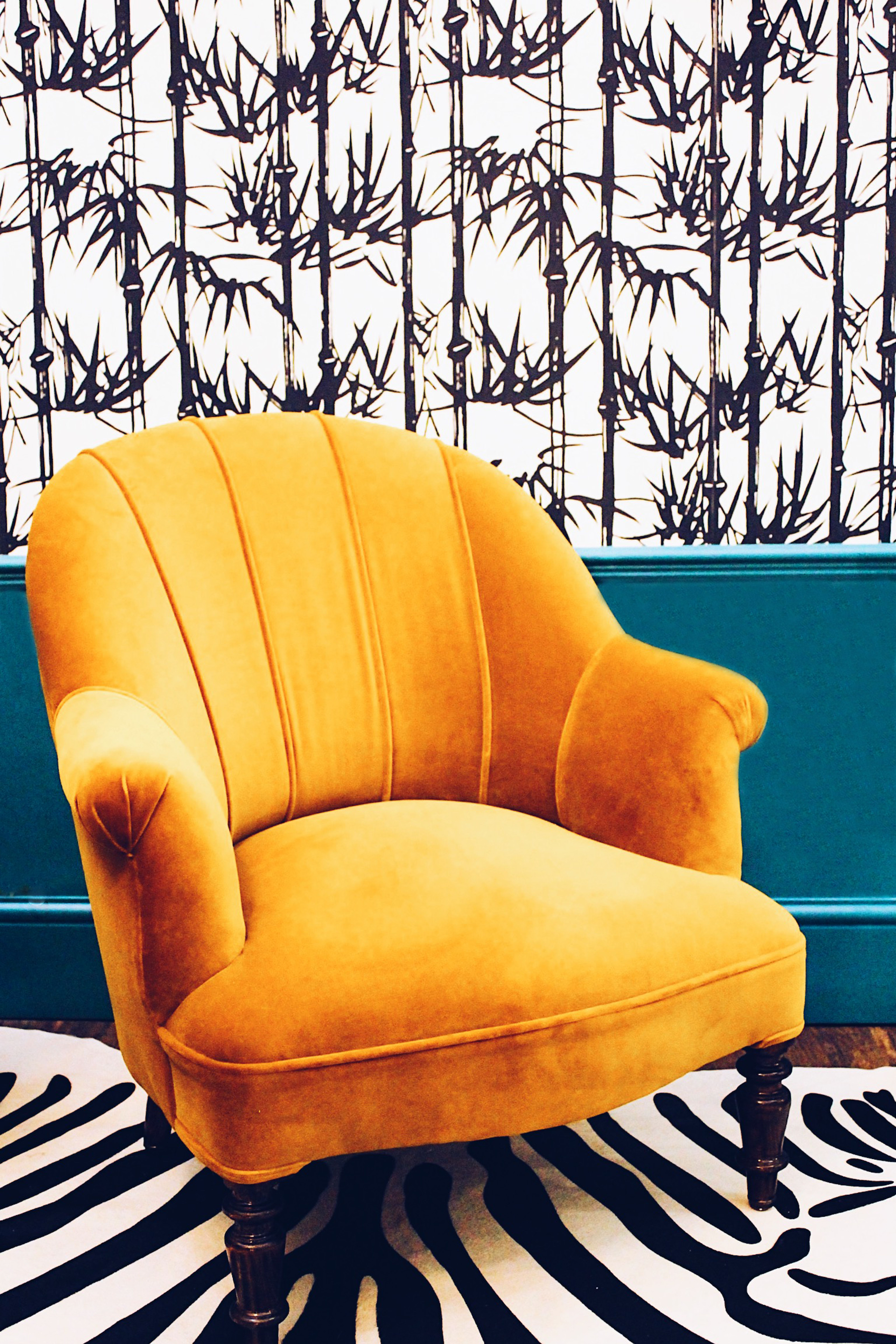 Yellow Chair And Zebra Rug With Bamboo Wallpaper Vardo Paint By Farrow Ball Design The Other Door