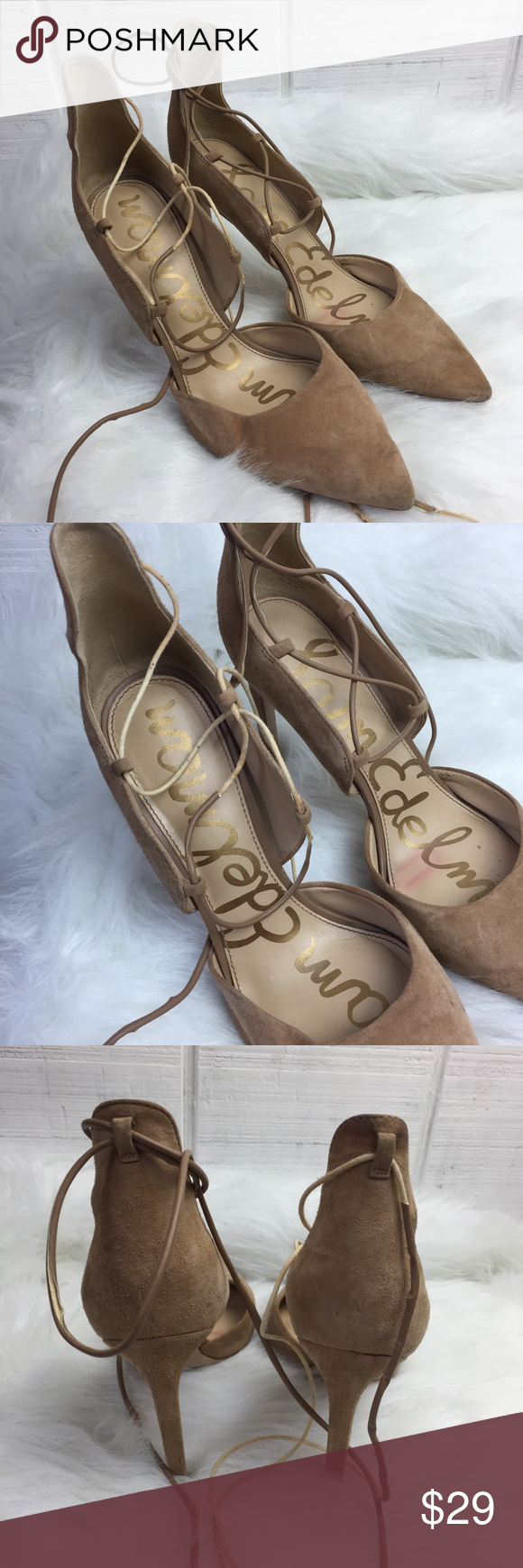c10053d94 Women s Sam Edelman Helaine 9M Pump Heels Lace Up Women s Sam Edelman  Helaine 9M Pump Heels Lace Up Gray Suede Pointed Toe As Is Please note that  these ...
