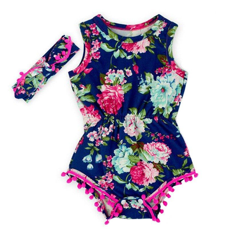 52ec4f78f Flower Navy Blue Pom Pom Romper with Pink