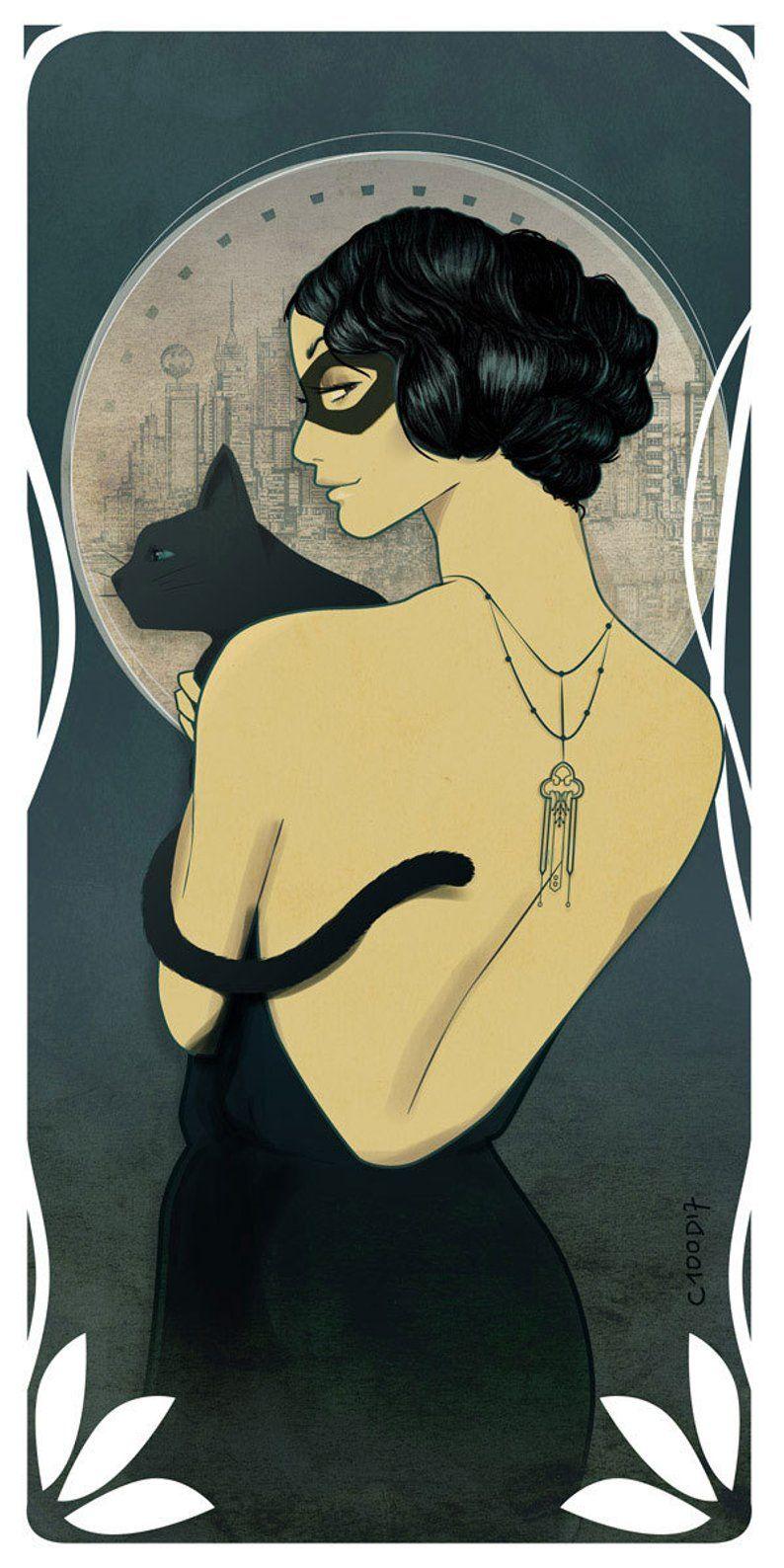 Cadeau Déco comic > Catwoman style Mucha art nouveau Geek fanart sensuel super héroine de DC Comics chat noir masque robe noire dos nu bijou