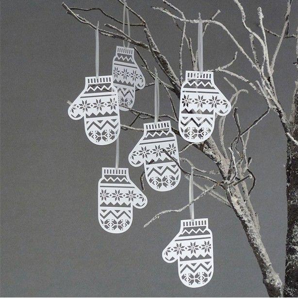 Winterwanten Decoratie Gesneden Uit Papier Door Tiara Kerst Papier Knutselen Kerst Papier Versierde Kerstbomen