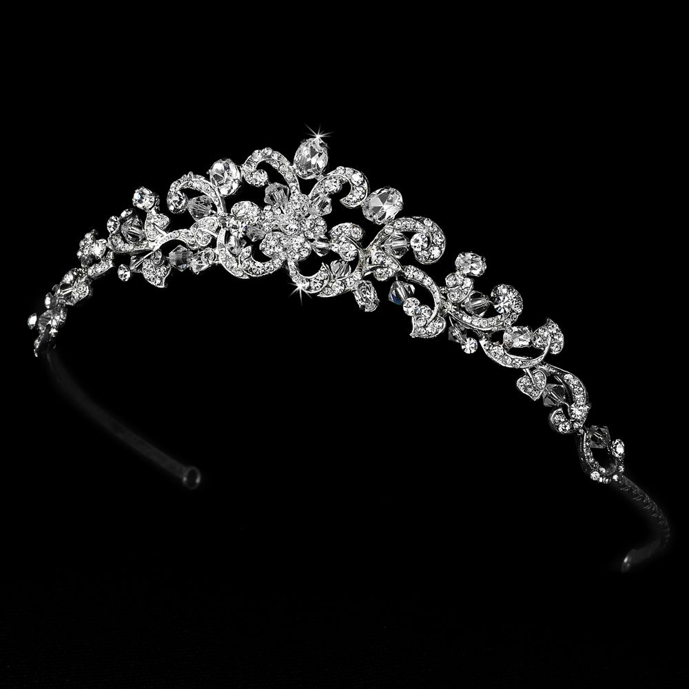 Extrêmement Swarovski Crystal Wedding Tiara Antique Silver Clear | Prince et Bijou JD98