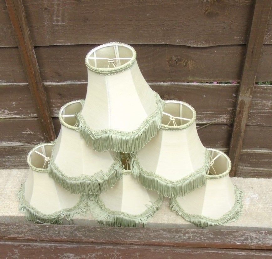 6 X Vintage Small Clip On Lamp Shades With Fringe Light
