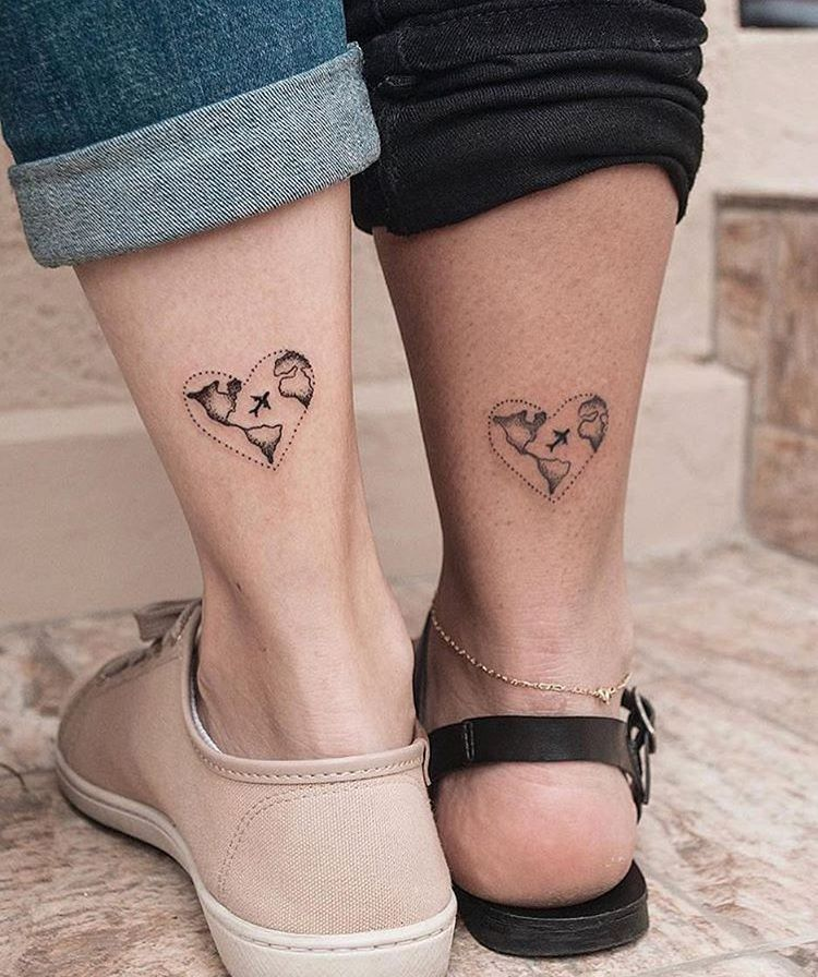 love around the world • couples tattoo ideas