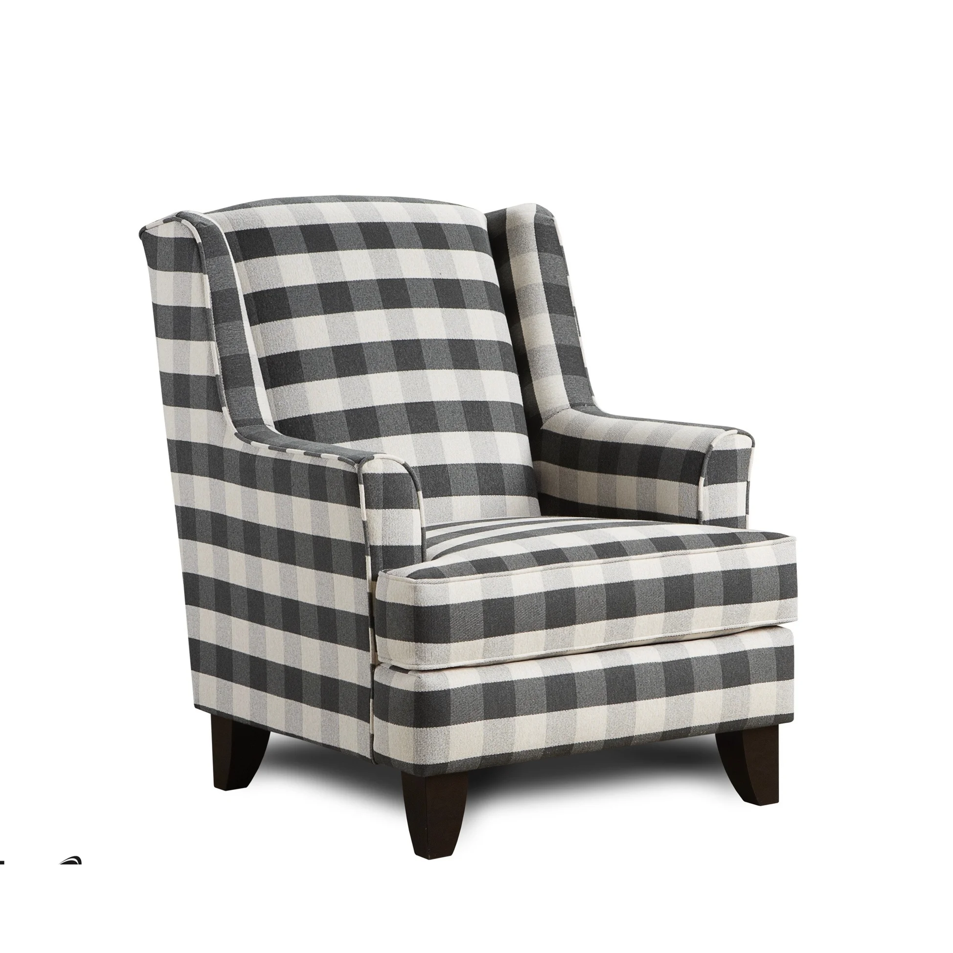 Best Brock Charcoal Black White Block Plaid Accent Chair Gray 400 x 300