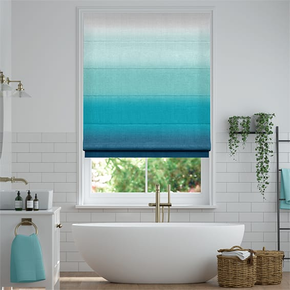 Ombre Teal Roman Blind In 2020 Teal Roman Blinds Teal Blinds Bathroom Blinds