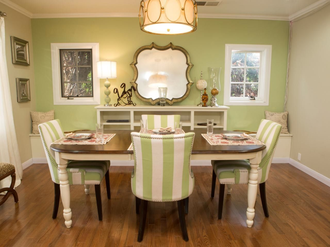 Dining Room Chairs Upholstery Material With Green Accent