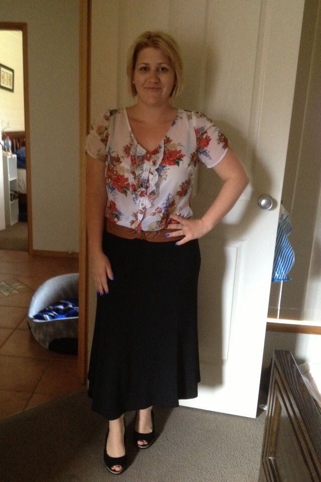 Top and skirt.  Just added shoes and belt