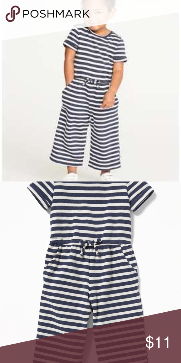 0b1686c1d2c5 NWT- Toddler Girl French Terry Jumpsuit NWT Old Navy Toddler Girl French  Terry Wide-Leg Jumpsuit- Navy Stripes Super Plushy material Cuffed sleeves  - Short ...
