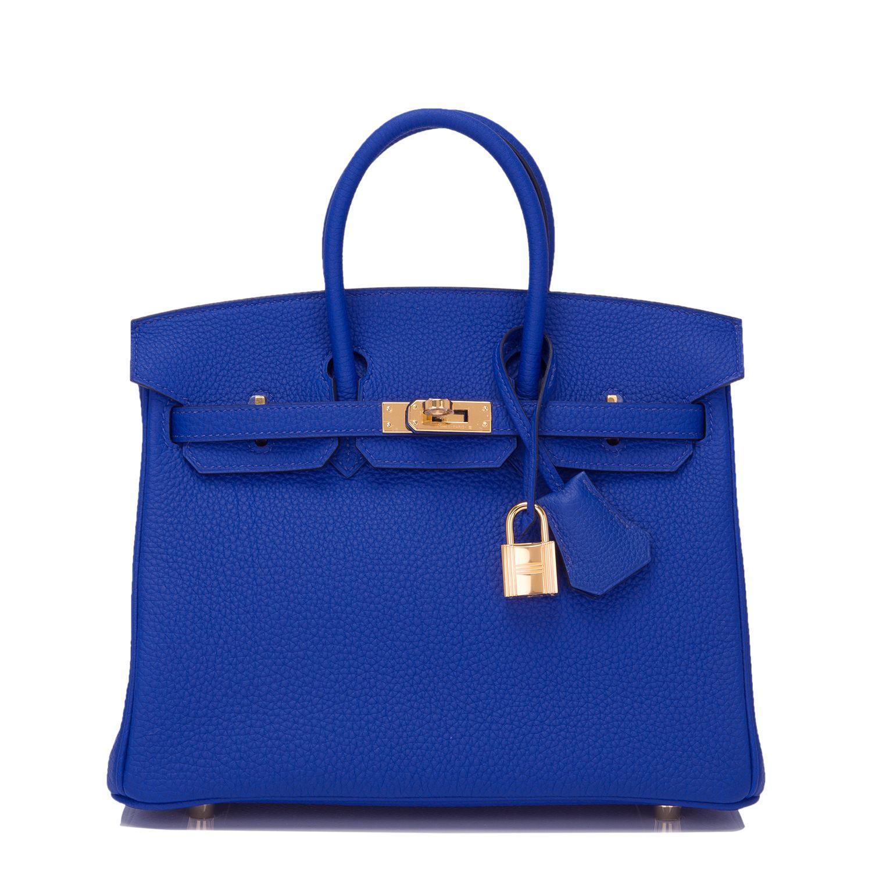 e1ed35ea8f Hermes Birkin Bag 25cm Blue Electric Togo Gold Hardware