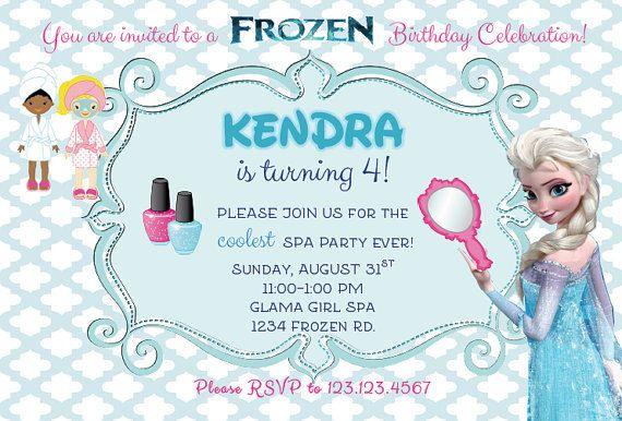 Frozen Spa Birthday Party Invitation by PartyGlamourShopKids - invitation birthday frozen
