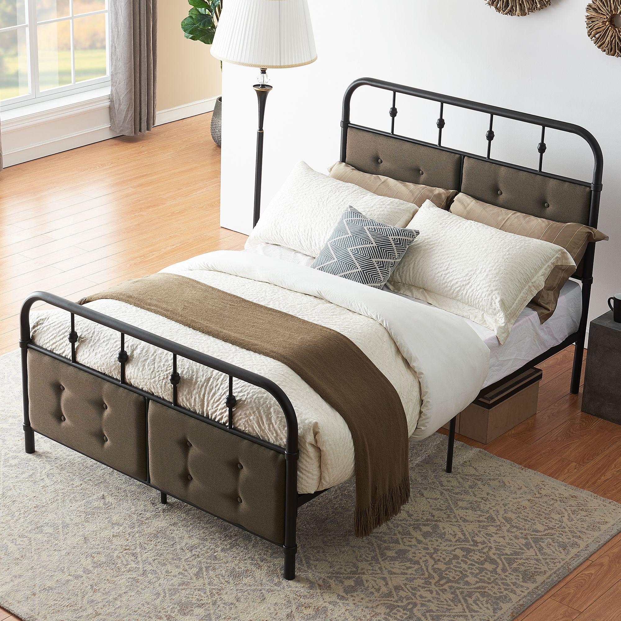 Industrial Metal Bed Frame Platform Bed with Upholstered