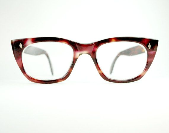 1181f20e5d Vintage Thick Horn Rim Pink Cherry Demi Amber Tortoiseshell Eyeglasses  Optical Frame Large Mad Men Chick