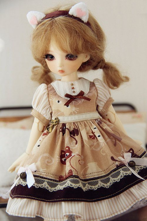 1/6BJD 1/6YOSD Summer Cat Brown Dress Doll by DollyHoly on Etsy