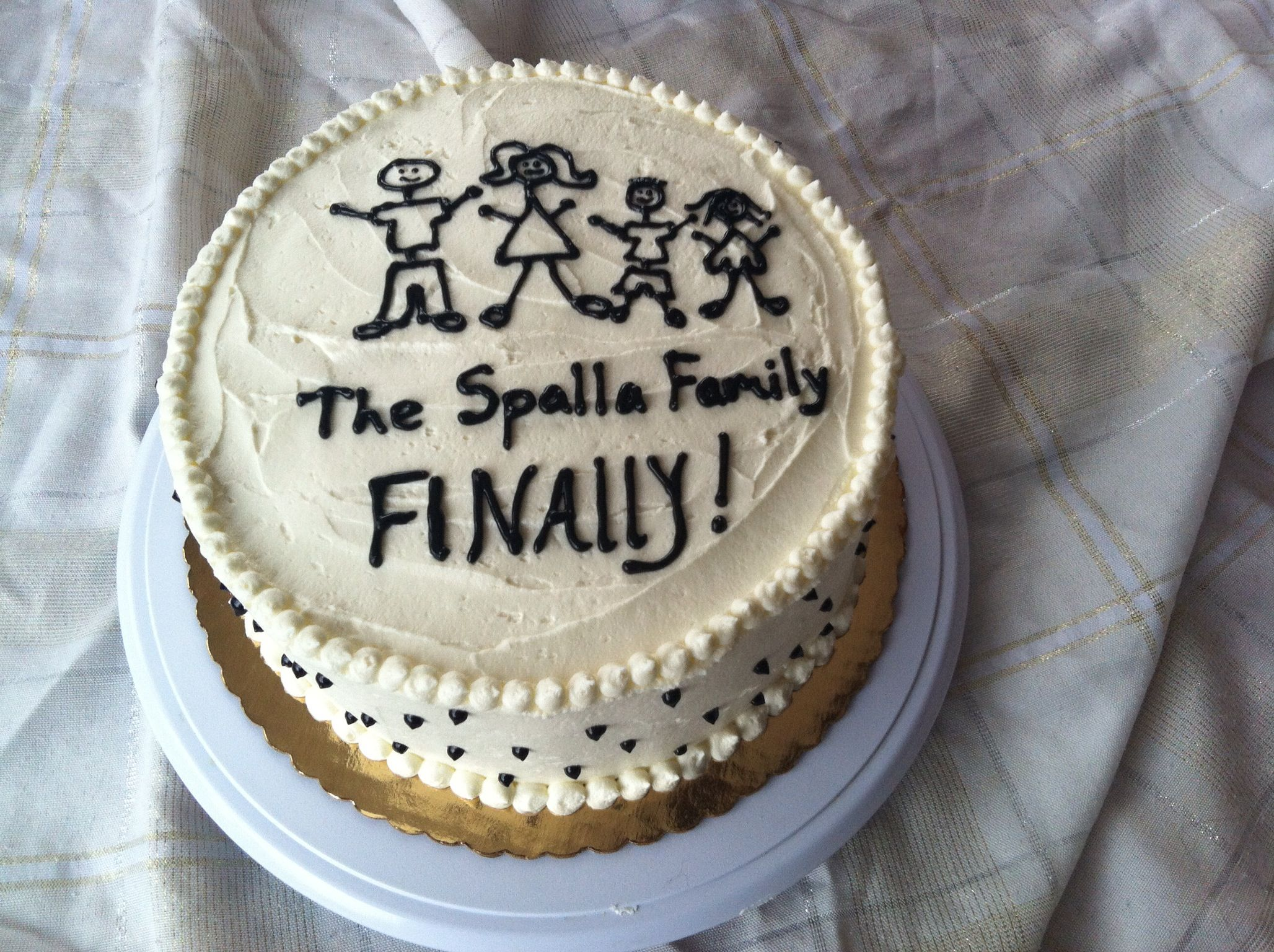 Adoption Cake Stick Figure Family 3 Layers Yellow Cake
